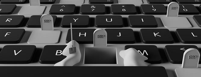 grave on laptop computer, dependence on the digital world concept, 3d render