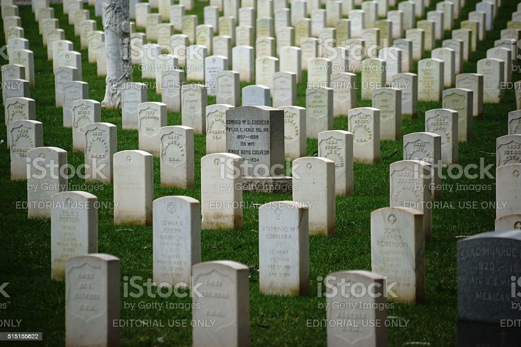 Grave stones in a row stock photo