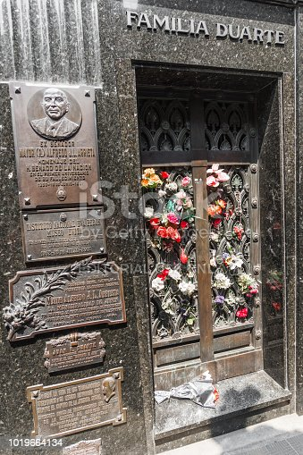Buenos Aires, Argentina - February 2, 2018: Grave tombstone of Eva Peron in La Recoleta Cemetery on a sunny summer day
