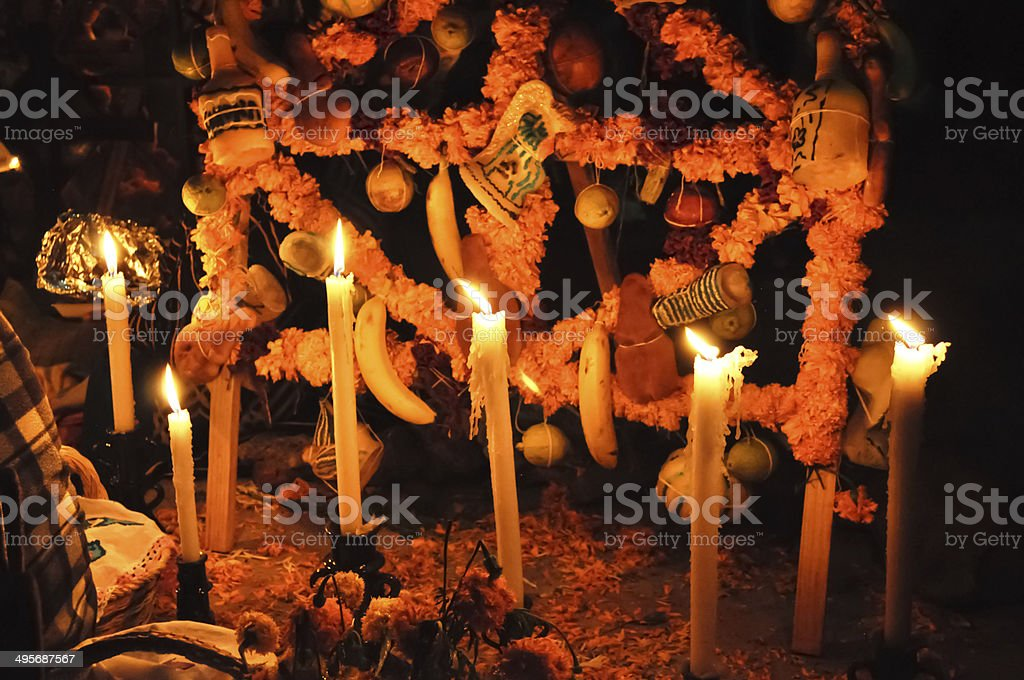 Grave with candles stock photo
