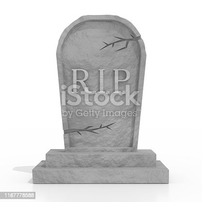 3D grave with rest in peace (RIP) letters, white background - great for topics like religion, Halloween etc.