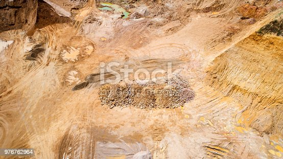 Gravel and sand open pit mining - aerial view