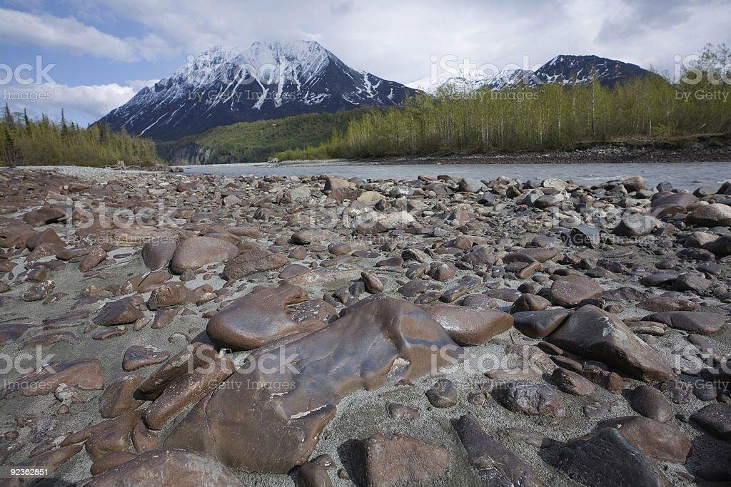 Gravel bar in Alaska royalty-free stock photo