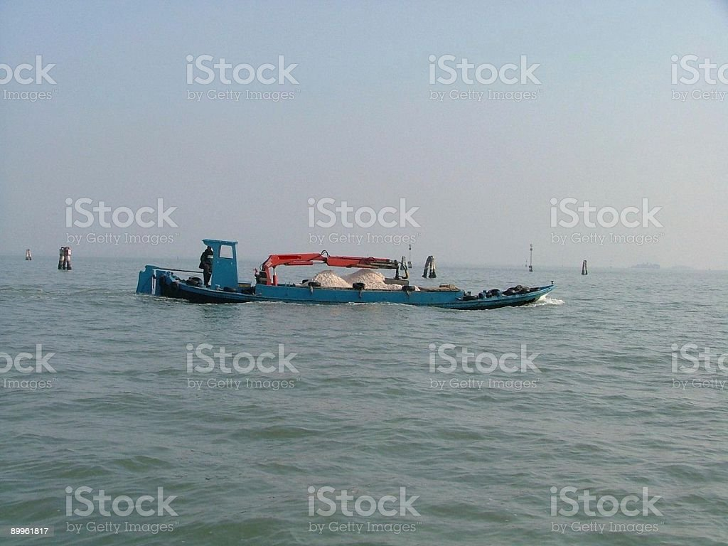 Gravel Barge in the Venice lagoon royalty-free stock photo