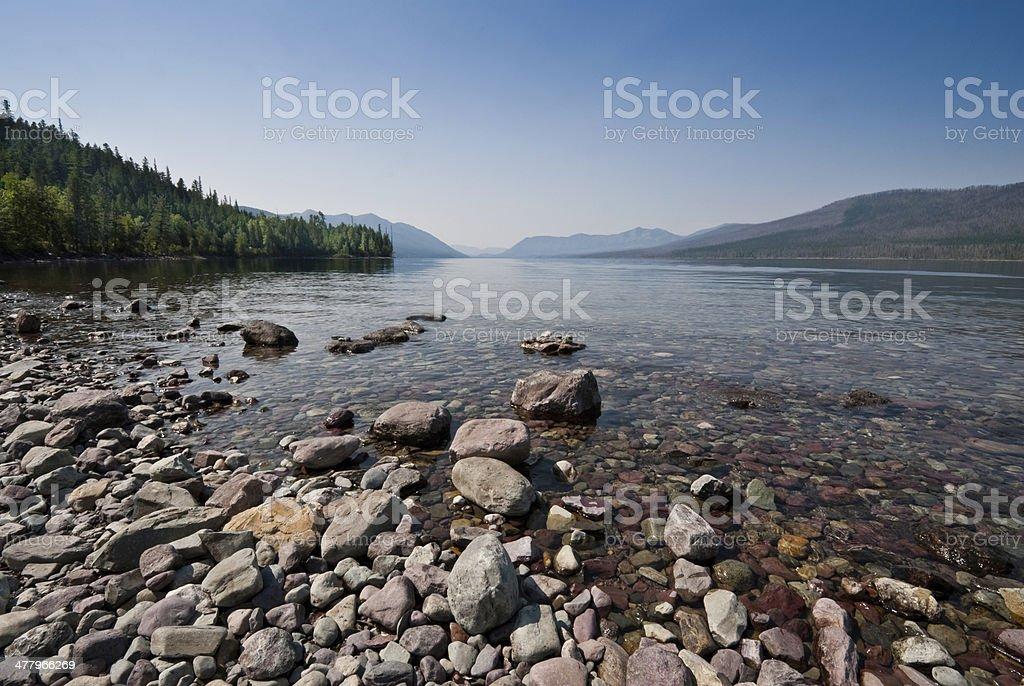 Gravel Beach at Lake McDonald royalty-free stock photo