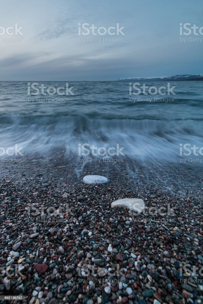 Gravel Beach in Newfoundland stock photo