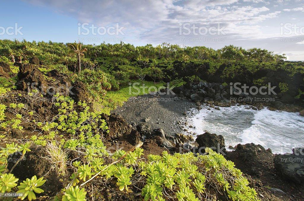 Gravel beach in Waianapanapa State park stock photo