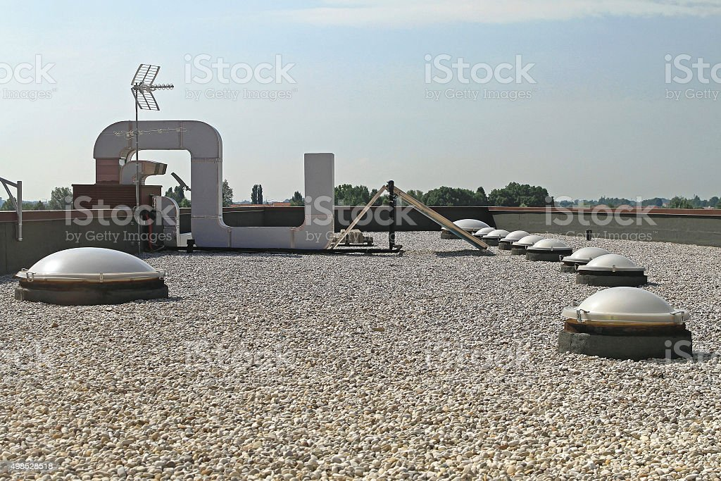 Gravel Flat Roof stock photo