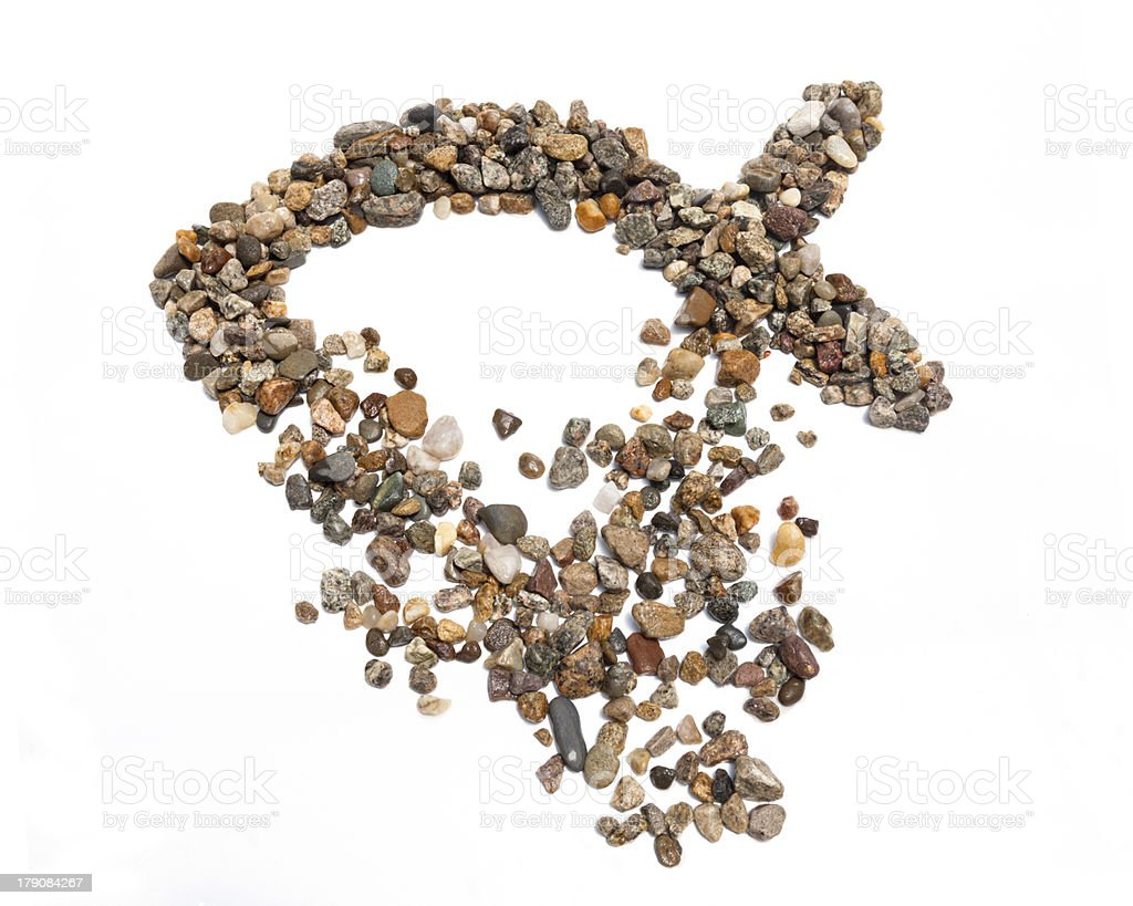 Gravel Ichthus stock photo
