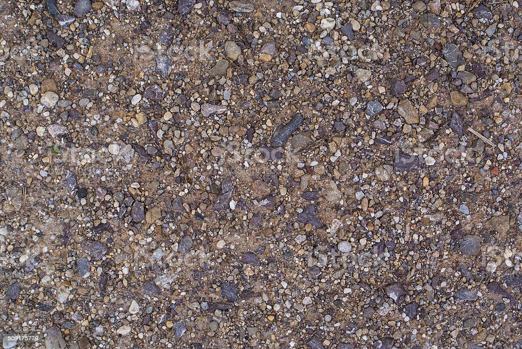 Gravel, pebbles and sand closeup stock photo