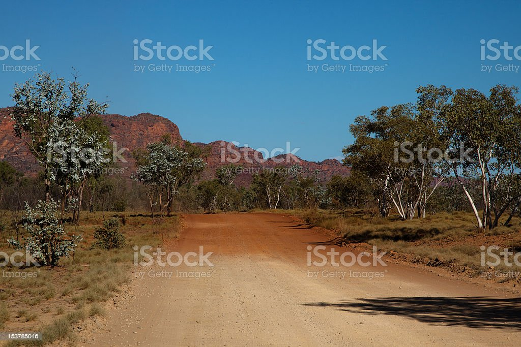Gravel Road changing colour stock photo