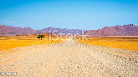 Gravel road crossing the colorful Namib desert, in the majestic Namib Naukluft National Park, best travel destination in Namibia, Africa.