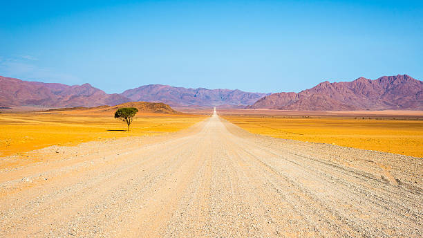 Gravel road crossing the Namib desert, Namibia, Africa Gravel road crossing the colorful Namib desert, in the majestic Namib Naukluft National Park, best travel destination in Namibia, Africa. namibia stock pictures, royalty-free photos & images