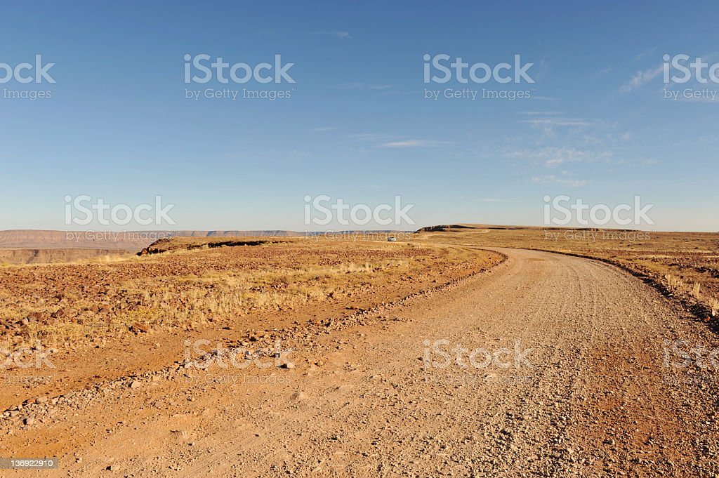 Gravel road in southern Namibia near Fish River Canyon. royalty-free stock photo