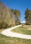 Windy gravel road in summer landscape near Amberg