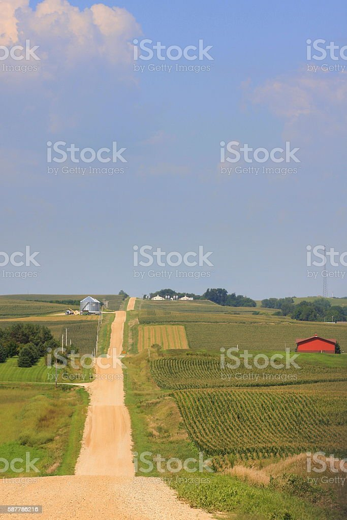 Gravel Road in the Rolling Hills of Western Iowa stock photo