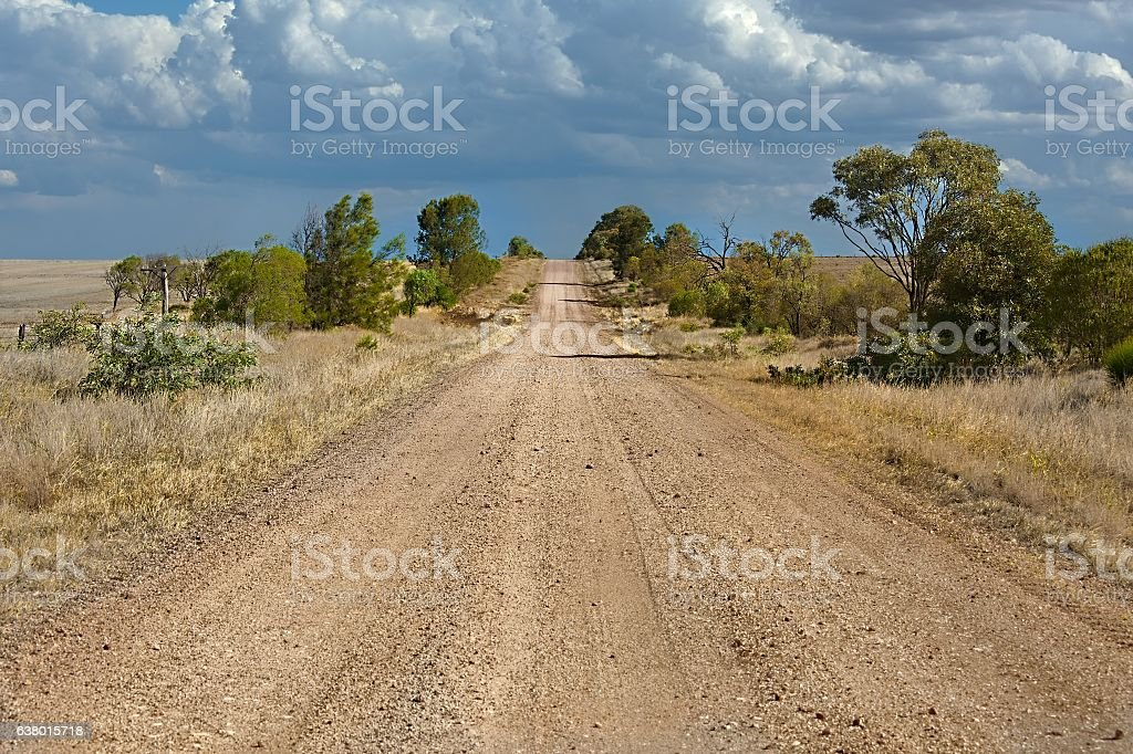 Gravel road perspective stock photo