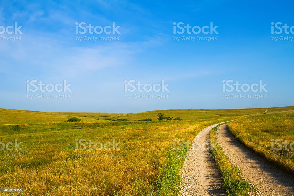 Gravel Road through Flint Hills stock photo