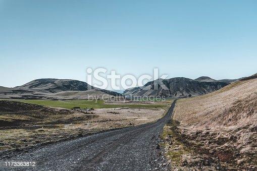 Gravel road through Iceland.