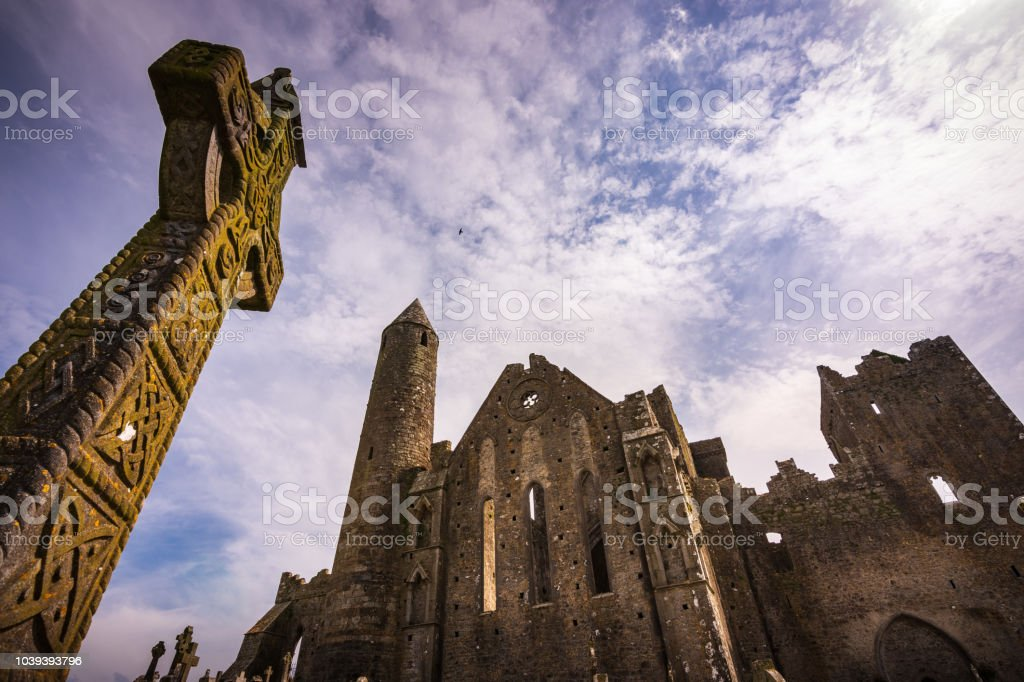 Graves and ruins of medieval castle, Rock of Cashel in Ireland royalty-free stock photo