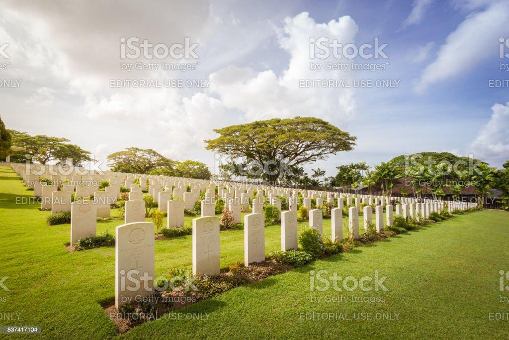 Graves at the Kranji War Memorial stock photo