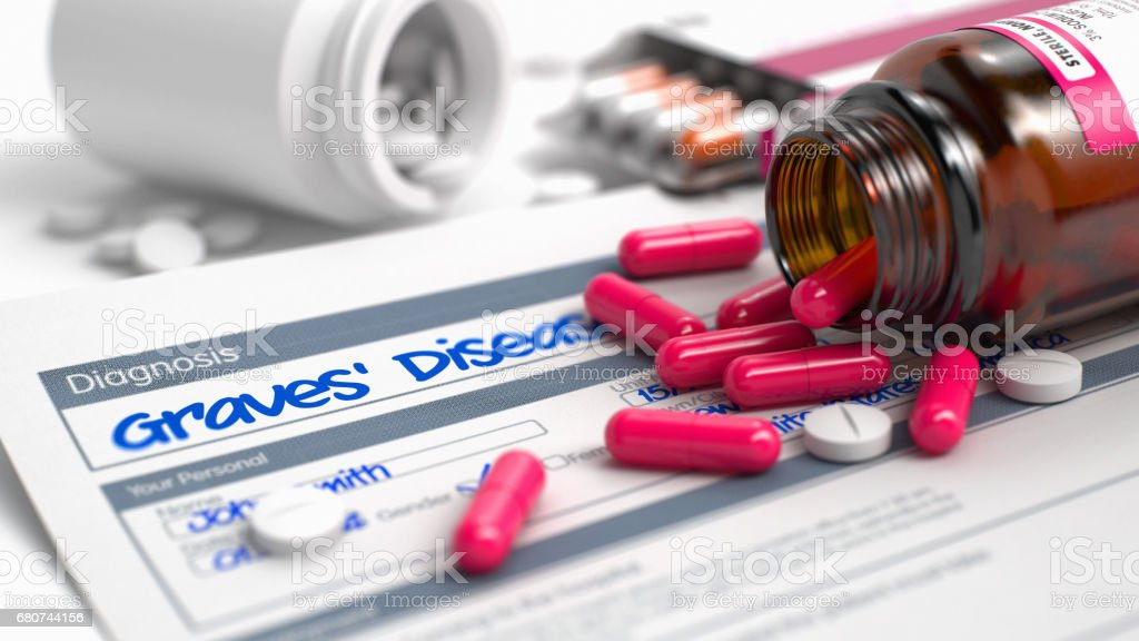 Graves Disease - Text in History of the Present Illness. 3D stock photo