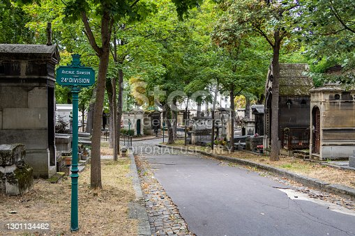 Paris, France - September 07 2019: Alley with Graves in Montmartre Cemetery on a cloudy day of september.