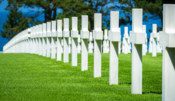 Graves in the D-Day Normandy American Cemetery stock photo