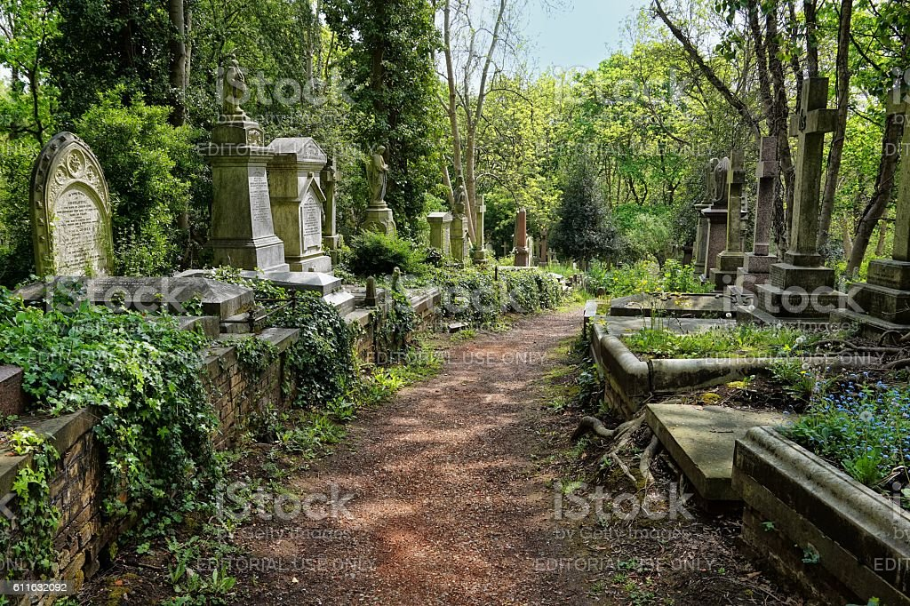 Graves in the East cemetery of Highgate Cemetery stock photo