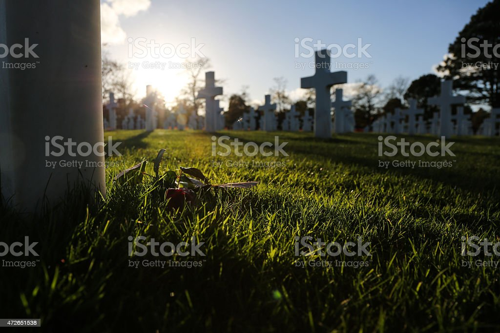 Graves of Americans soldiers in Normandy stock photo