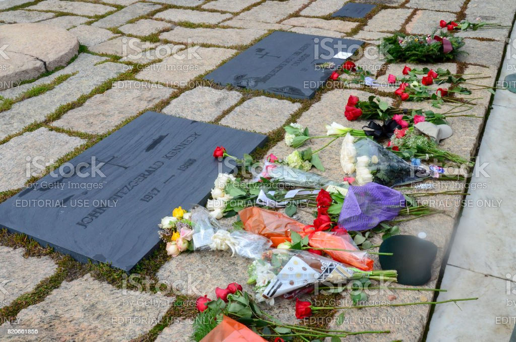 Graves of John F. Kennedy and Jacqueline Kennedy Onassis at Arlington National Cemetery stock photo