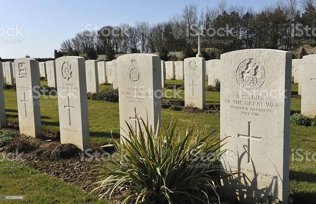 Graves of unknown soldiers in a Military War Cemetary,  France stock photo