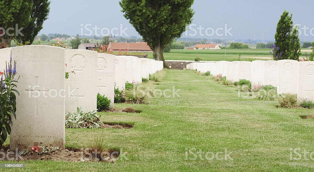 Graves of unknown soldiers, Tyne Cot, Flanders royalty-free stock photo