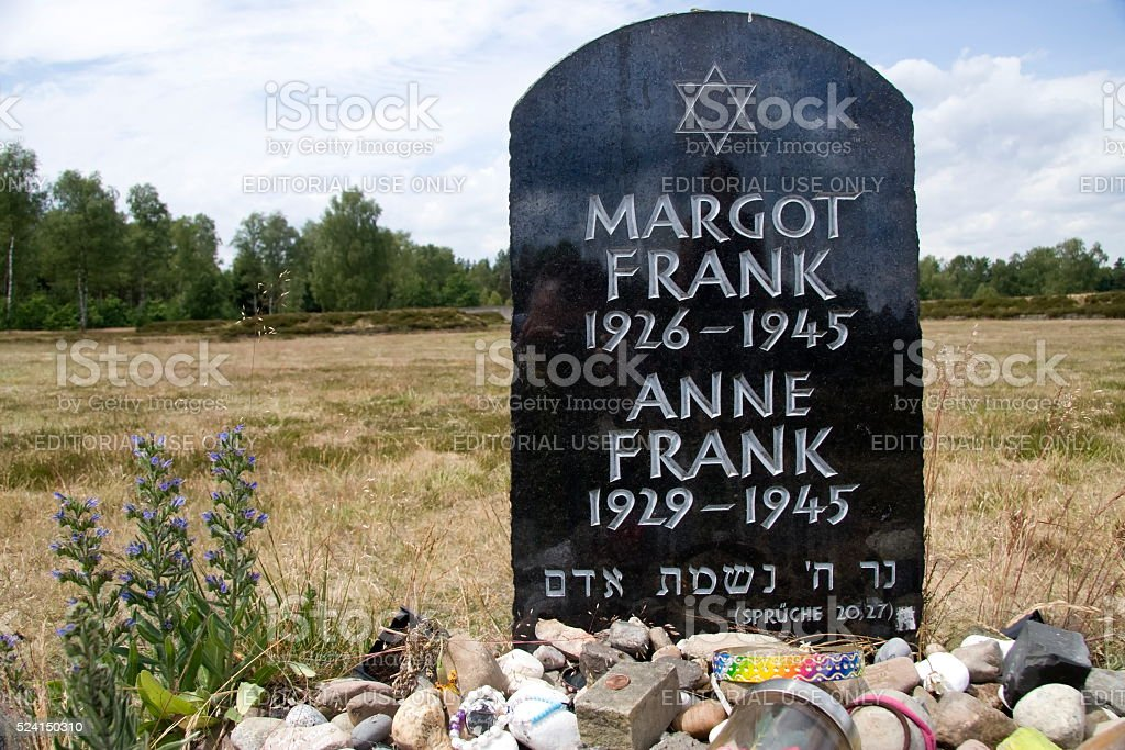Gravestone Anne and Margot Frank stock photo