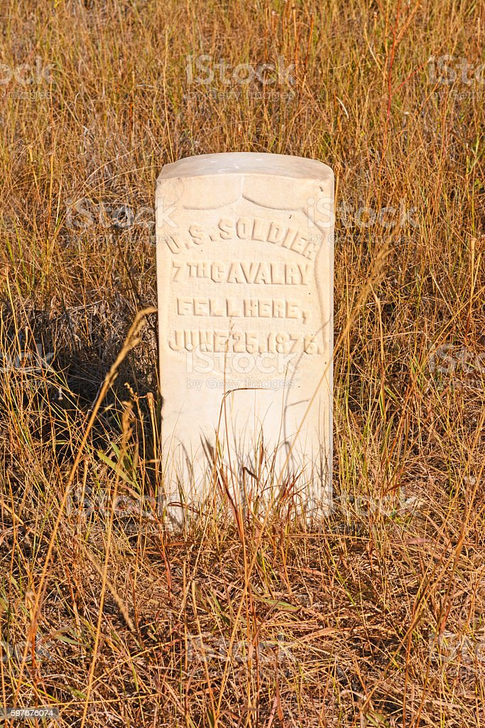 Gravestone at an Indian Battlefield stock photo