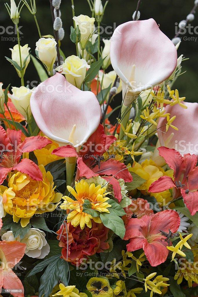 Gravestone flowers royalty-free stock photo