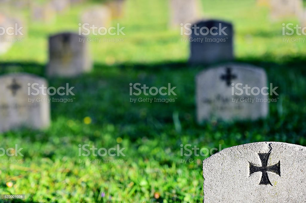 Gravestone of a german soldier stock photo