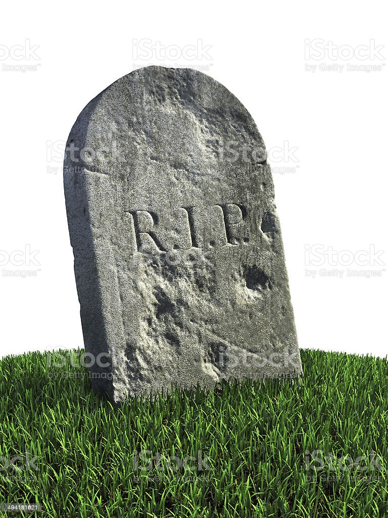 gravestone on the white background stock photo