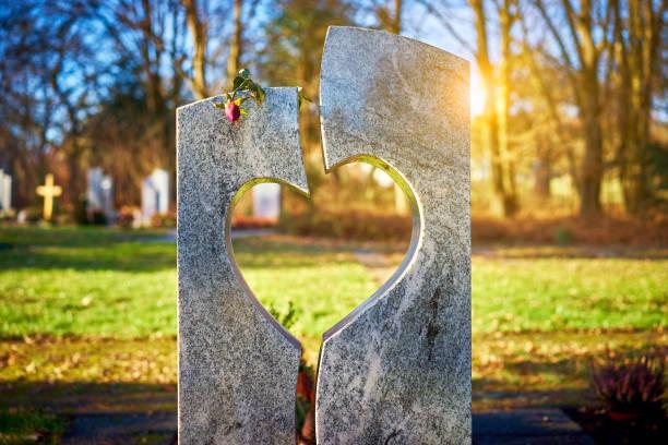 grafsteen met hart verdord rose - graf stockfoto's en -beelden