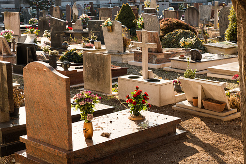 Gravestones and gifted flowers in San Michele Cemetery, Venice, Italy