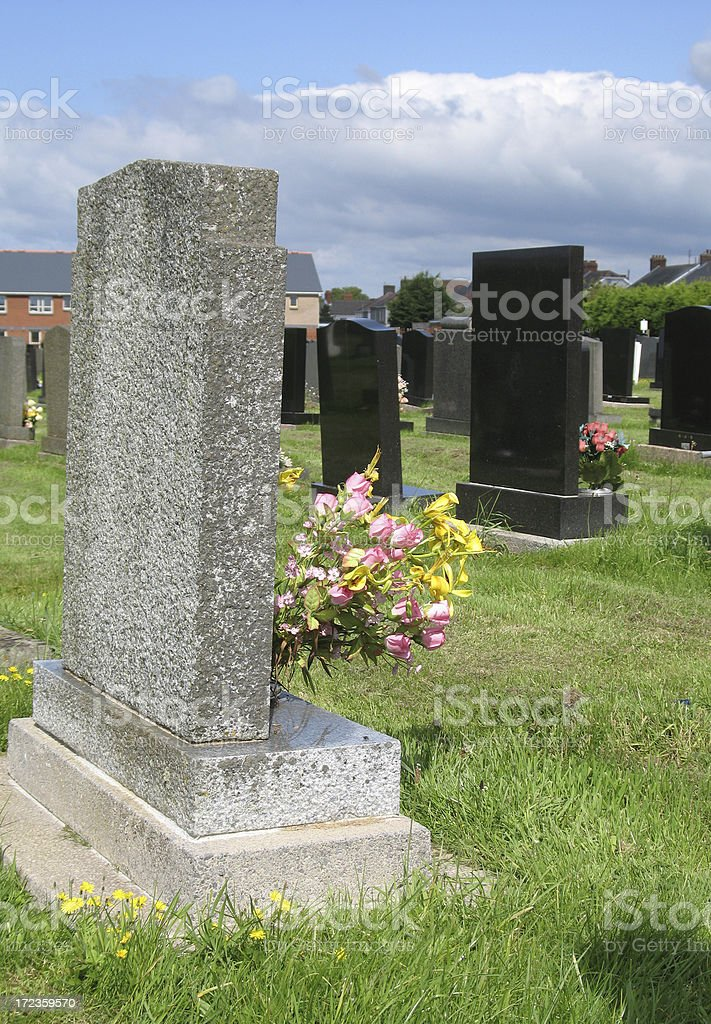 Gravestones at the cemetery with flowers royalty-free stock photo