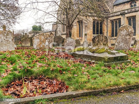 Gravestones in a Church Graveyard, Wantage, Oxfordshire, uk