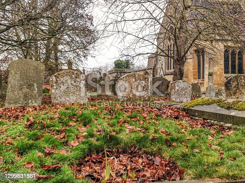 Gravestones in a Church Graveyard, Wantage, Oxfordshire, uk