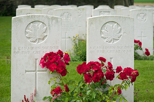 Gravestones of two unknown Canadian soldiers from WWI