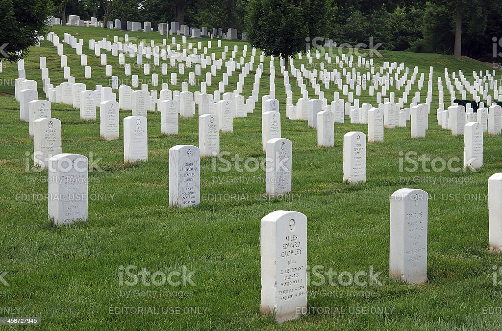 Gravestones on Arlington National Cemetery in Washington DC royalty-free stock photo