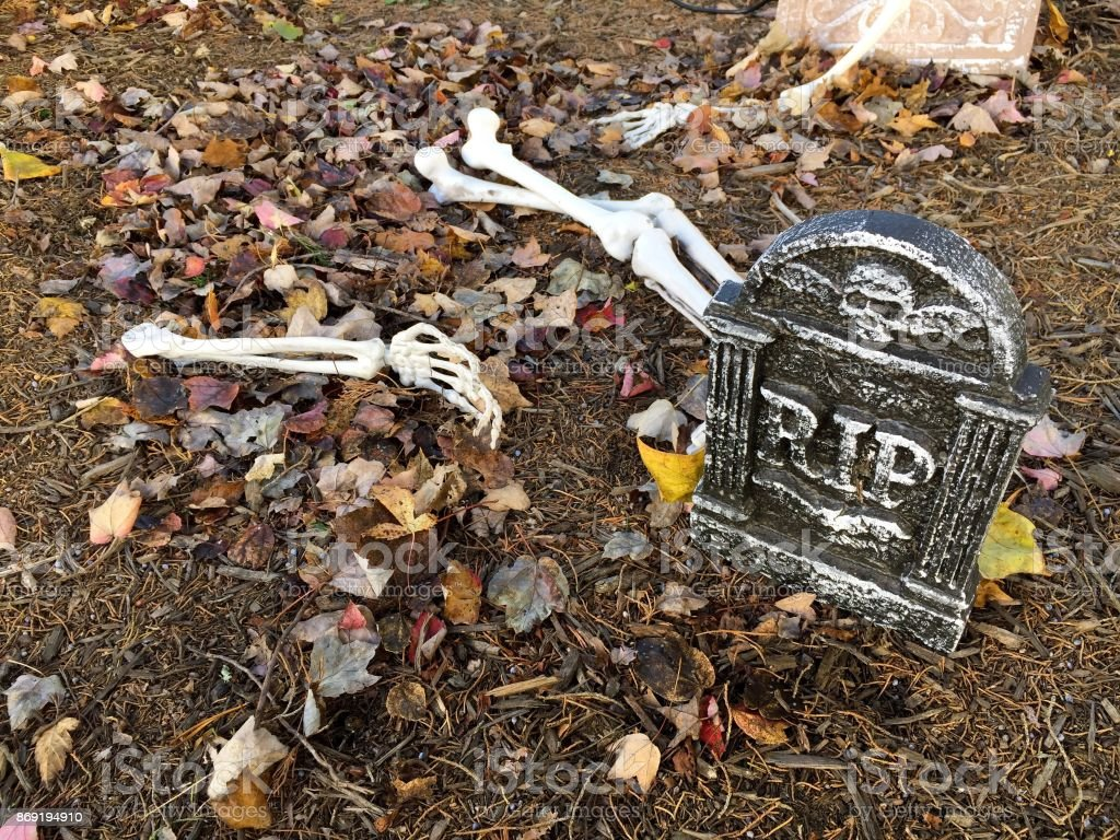 Graveyard Halloween Decorations stock photo