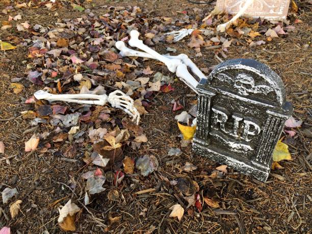 Graveyard Halloween Decorations stock photo