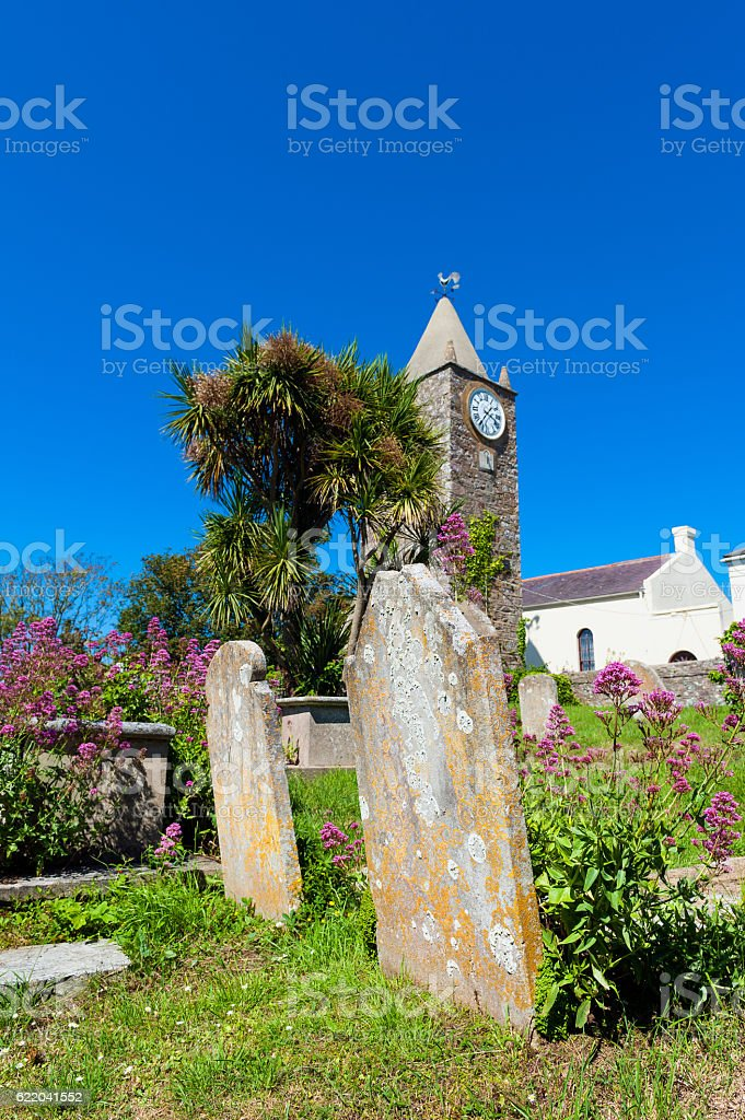Graveyard on Alderney stock photo