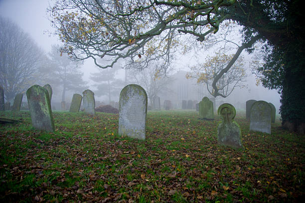 graveyard with tombstones and fog - cemetery stock photos and pictures