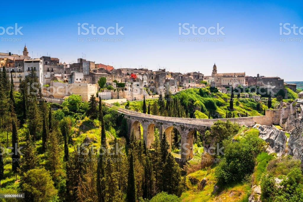 Gravina in Puglia ancient town, bridge and canyon. Apulia, Italy. stock photo